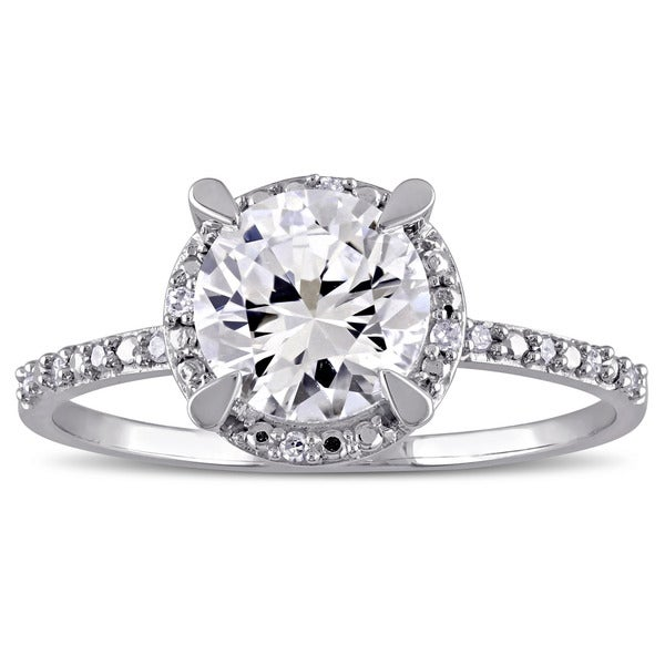 Miadora 10k White Gold Created White Sapphire and Diamond Halo Engagement Ring