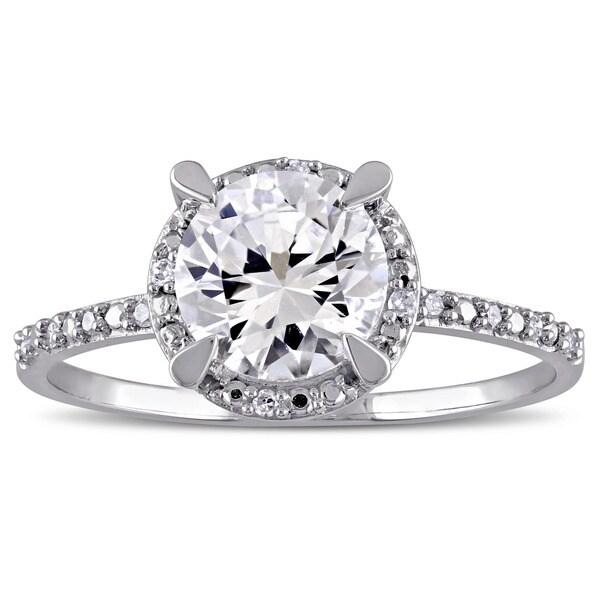 96b37e04c2e3e Shop Miadora 10k White Gold Created White Sapphire and Diamond Halo ...