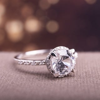 Miadora 10k White Gold Created White Sapphire and Diamond Accent Halo Engagement Ring
