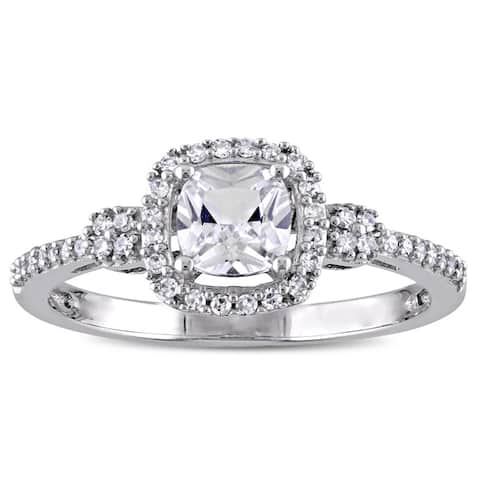 Miadora 10k White Gold Cushion-cut Created White Sapphire and 1/6ct TDW Diamond Halo Engagement Ring