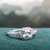 Miadora 10k White Gold Cushion-cut Created White Sapphire and 1/6ct TDW Diamond Halo Engagement Ring