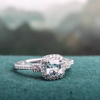miadora 10k white gold cushion cut created white sapphire and 16ct tdw diamond - Gemstone Wedding Rings