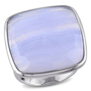 Miadora Sterling Silver Square-cut Blue Lace Agate Cocktail Ring