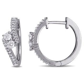 Miadora 14k White Gold 1/2ct TDW Diamond 2-Stone Hoop Earrings