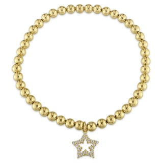 Miadora Yellow Plated Sterling Silver Cubic Zirconia Beaded Star Charm Bracelet
