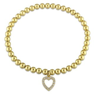 Miadora Yellow Plated Sterling Silver Cubic Zirconia Beaded Heart Charm Bracelet
