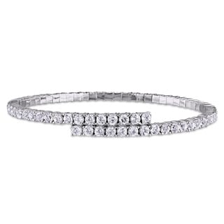 Miadora Sterling Silver White Topaz Overlapping Bangle Bracelet