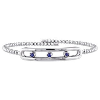 Miadora Sterling Silver Sapphire Bar-Shaped 3-stone Bangle Bracelet