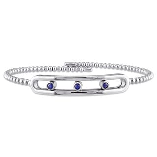 Miadora Sterling Silver Sapphire Bar-Shaped 3-stone Bangle Bracelet
