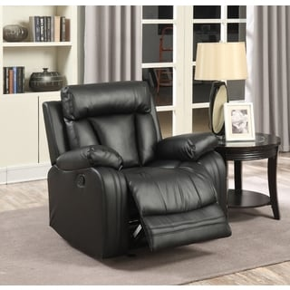 Meridian Avery Black Leather Glider Recliner