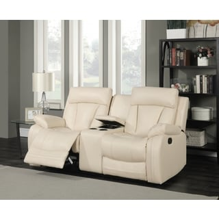 Meridian Avery Beige Leather Loveseat