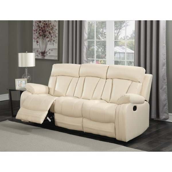 Leather Sofa Beige: Shop Meridian Avery Beige Leather Sofa
