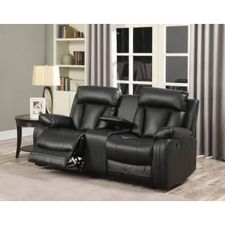 Meridian Avery Black Leather Loveseat