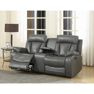 Meridian Avery Grey Leather Loveseat