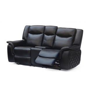 Meridian Carly Black Leather Loveseat