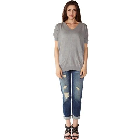 Women's 2 Side Pockets V-Neck Sweater