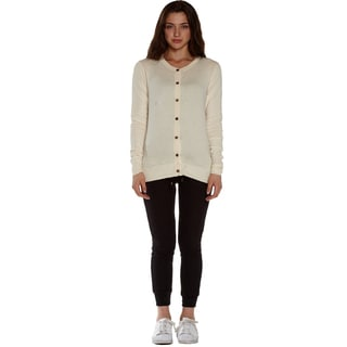Women's Cotton/Lycra Long-sleeved Round-neck Cardigan Sweater
