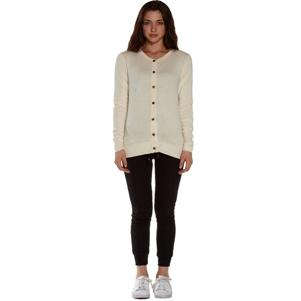 Women's Cotton/Lycra Long-sleeved Round-neck Cardigan Sweater