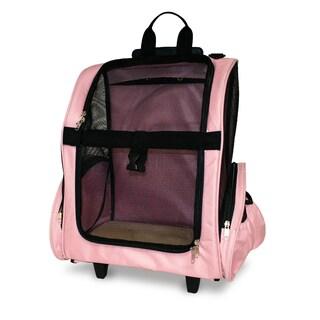 FurHaven Microfiber Pet Dog Backpack and Rolling Travel Pet Carrier (Option: Pink)