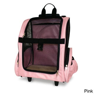 Furhaven Dog Microfiber Pet Backpack/Rolling Travel Pet Carrier (Option: Pink)