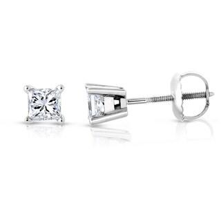 Montebello Jewelry Platinum 1ct TDW Princess-cut White Diamond Stud Earrings