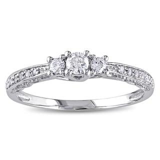 Miadora 10k White Gold 1/4ct TDW Diamond 3-Stone Halo Engagement Ring