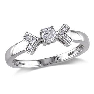 Miadora 10k White Gold 1/5ct TDW Diamond Engagement Ring (G-H, I2-I3)