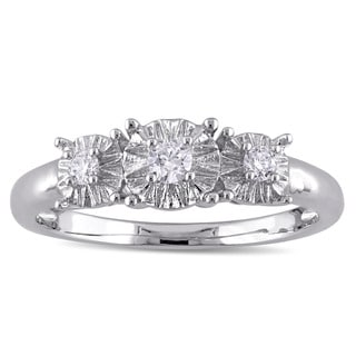 Miadora 10k White Gold 1/6ct TDW Diamond 3-Stone Engagement Ring
