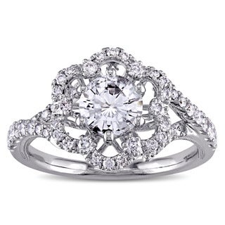 Miadora Signature Collection 14k White Gold White Sapphire and 3/8ct TDW Diamond Flower Engagement R