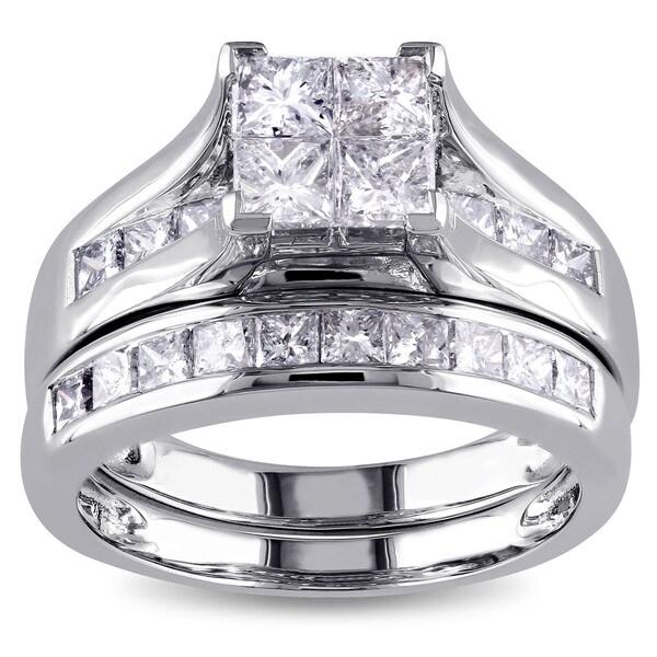 Miadora Signature Collection 14k White Gold 2ct TDW Diamond Bridal Set