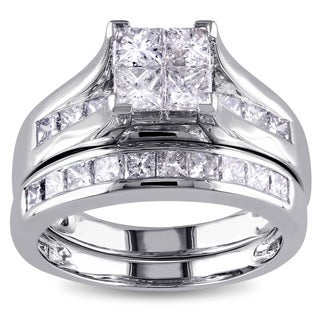 Miadora Signature Collection 14k White Gold 2ct TDW Diamond Bridal Set (G-H, I1-I2)
