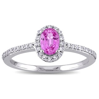 Miadora 10k White Gold Oval-cut Pink Sapphire and 1/5ct TDW Diamond Halo Ring (G-H, I1-I2)
