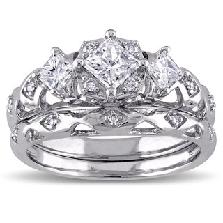 Miadora Signature Collection 14k White Gold 1ct TDW Princess-Cut 3-Stone Vintage Bridal Ring Set (2 options available)