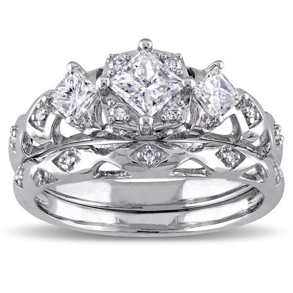 Miadora Signature Collection 14k White Gold 1ct TDW Princess-Cut 3-Stone Vintage Bridal Ring Set