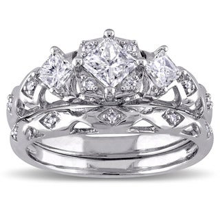 Miadora Signature Collection 14k White Gold 1ct TDW Princess-Cut 3-Stone Vintage Bridal Ring Set (G-H, I1-I2)
