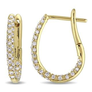 Miadora 10k Yellow Gold 1/2ct TDW Diamond Hinged Hoop Earrings (G-H, I2-I3)