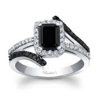 Barkev's Designer 14k White Gold 1 3/4ct TDW Black Diamond Engagement Ring