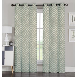 Allure Pair 84-Inch Jacquard 8 Grommet Curtain Panel Pair