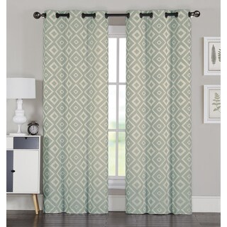 Artistic Linen Allure Pair 84-Inch Jacquard 8 Grommet Curtain Panel Pair