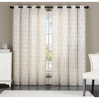 Keegan by Artistic Linen 8-grommet Jacquard Window Single Curtain Panel