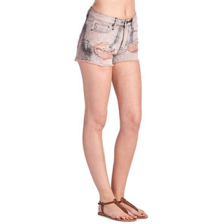 Cult of Individuality Women's Rockability Pink Tie-dye Denim Shorts