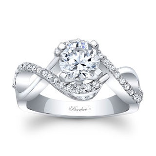 Barkev's Designer 14k White Gold 1ct TDW Round Diamond Engagement Ring