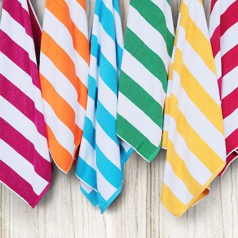 "Anatalya Classic Resort Cabana Stripe 40""x70"" Egyptian Cotton Beach Towel"