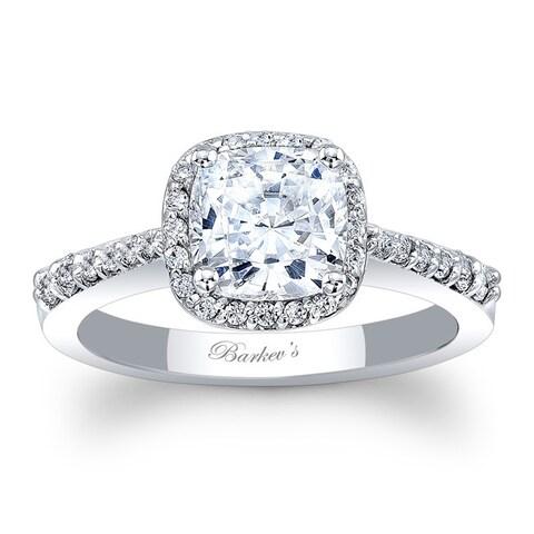 Barkev's Designer 14k White Gold 1 1/10ct TDW Cushion Halo Engagement Ring
