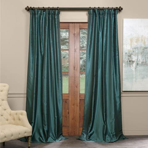 Exclusive Fabrics Textured Faux Dupioni Silk Blackout Curtain Panel