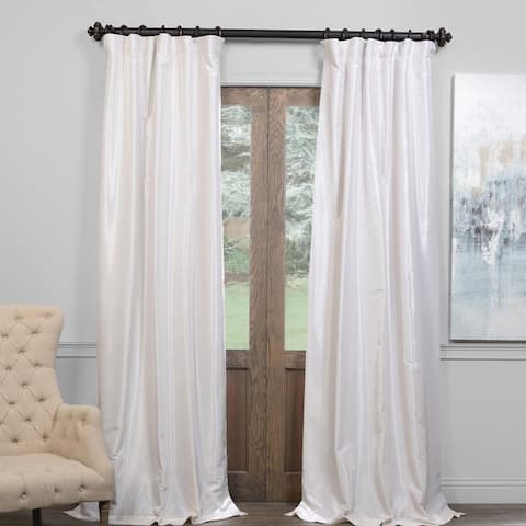 Exclusive Fabrics True Blackout Vintage Textured Faux Dupioni Silk Curtain Panel