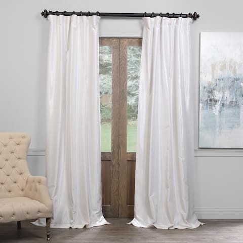 """Exclusive Fabrics True Blackout Vintage Textured Faux Dupioni Silk Curtain 96""""L in Ice (As Is Item)"""
