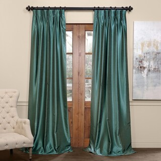 Exclusive Fabrics Signature Pinch Pleated Blackout Solid Faux Silk Curtain Panel