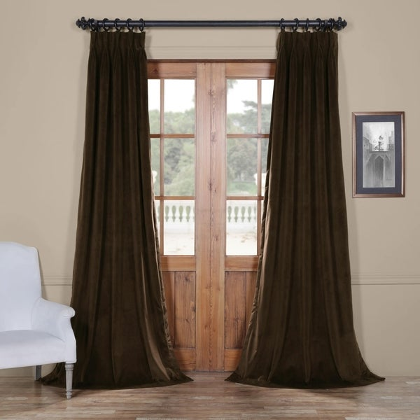 Exclusive Fabrics Signature Pinch Pleated Blackout Solid Velvet Curtain Panel