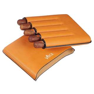 Visol Dakota Tan 60 Ring Gauge Cigar Case - Holds 5 Cigars